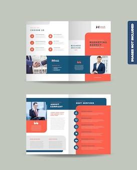 Modelo de design de brochura de negócios corporativos com duas dobras