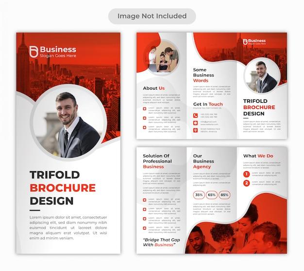 Modelo de design de brochura de negócios corporativos dobrável em três partes vermelho