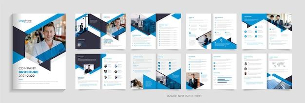 Modelo de design de brochura de negócios de 16 páginas com vetor premium de design de layout moderno