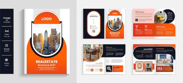 Modelo de design de brochura de negócios imobiliários cor laranja 08 páginas layout moderno