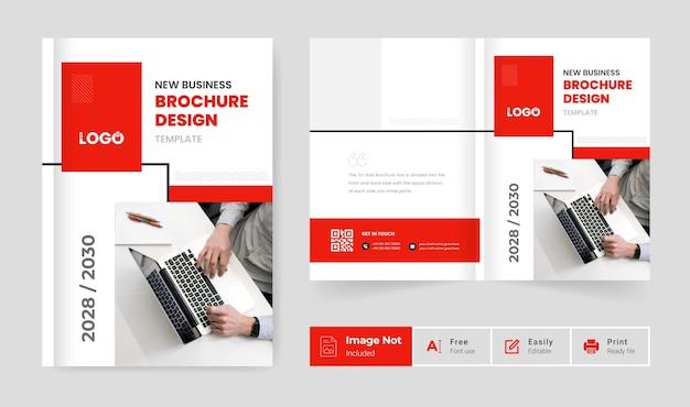 Modelo de design de brochura de negócios tema de cor vermelha mínima apresentação de página de capa de perfil da empresa