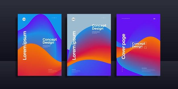 Modelo de design de brochura de onda líquida abstrata