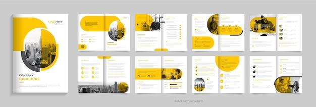 Modelo de design de brochura de perfil de empresa de 16 páginas com vetor premium de formas criativas
