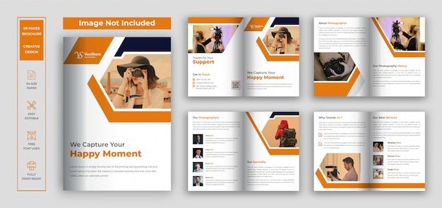 Modelo de design de brochura dupla para fotografia