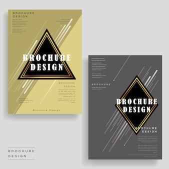 Modelo de design de brochura elegante com elementos de triângulo e losango