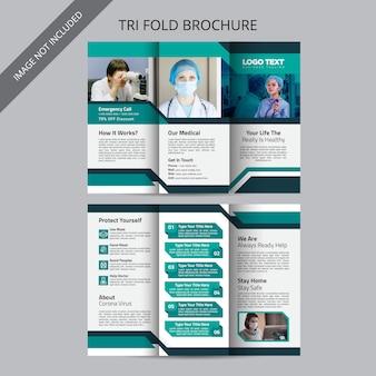Modelo de design de brochura médica dobrável em três partes