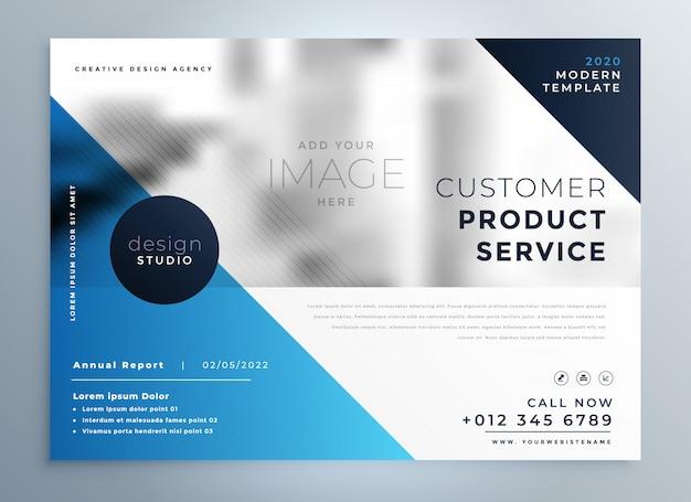 Modelo de design de brochura profissional azul geométrica