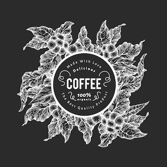 Modelo de design de café desenhado à mão