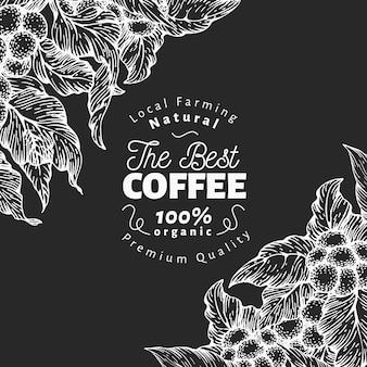 Modelo de design de café desenhado de mão.