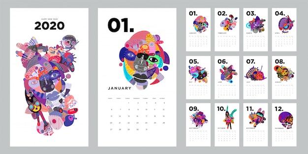 Modelo de design de calendário 2020 com ilustração abstrata colorida doodle