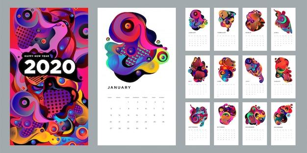 Modelo de design de calendário 2020 com líquido abstrato colorido e fundo geométrico