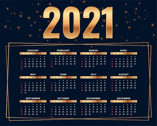 Modelo de design de calendário 2021 de estilo dourado brilhante
