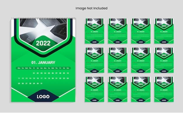 Modelo de design de calendário de ano novo colorido verde 2022