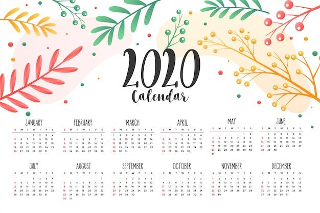 Modelo de design de calendário de estilo 2020 flor e folhas