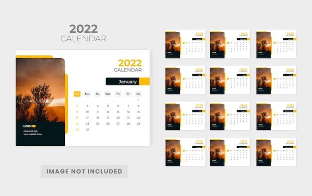 Modelo de design de calendário de mesa abstrato 2022