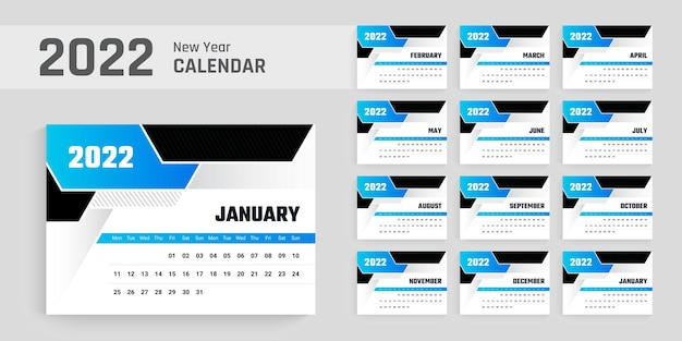 Modelo de design de calendário de mesa de ano 2022 layout abstrato limpo