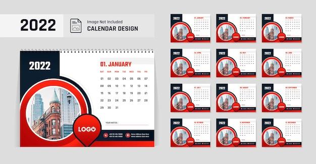 Modelo de design de calendário de mesa de ano novo moderno 2022 de cor vermelha e preta
