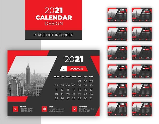 Modelo de design de calendário de mesa de negócios em cor escura