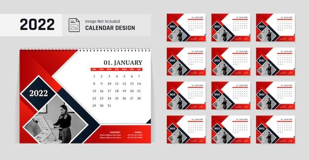 Modelo de design de calendário de mesa para ano novo com formato de cor vermelha 2022