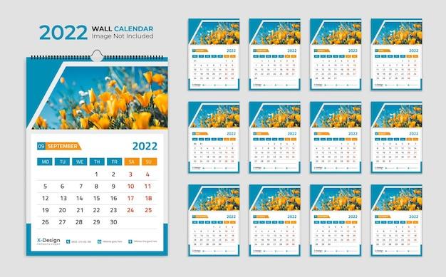 Modelo de design de calendário de parede de ano novo 2022 moderno