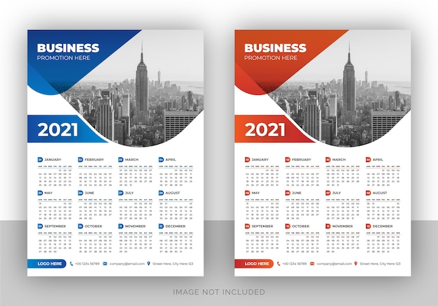 Modelo de design de calendário de parede de marca elegante de página única da empresa