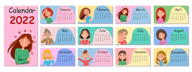 Modelo de design de calendário de parede horizontal para 2022. um conjunto de emoticons adesivos em estilo cartoon. a semana começa na segunda-feira. ilustração em vetor plana com um contorno.