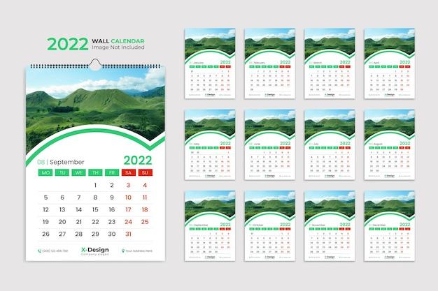 Modelo de design de calendário de parede para 2022 planejador anual com todos os meses