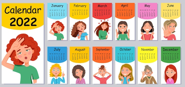 Modelo de design de calendário de parede vertical para 2022. um conjunto de adesivos emoticons no estilo desenho animado. a semana começa na segunda-feira. ilustração em vetor plana com um contorno.