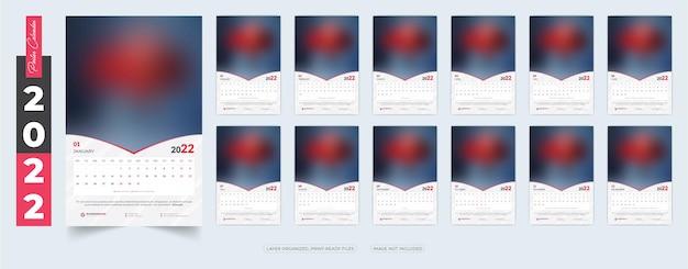 Modelo de design de calendário de pôster 2022