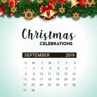 Modelo de design de calendário de setembro de 2019 de decoração de natal ou ano novo