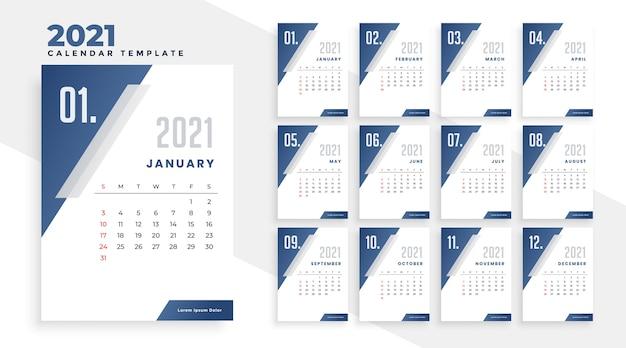 Modelo de design de calendário do ano 2021 em estilo geométrico