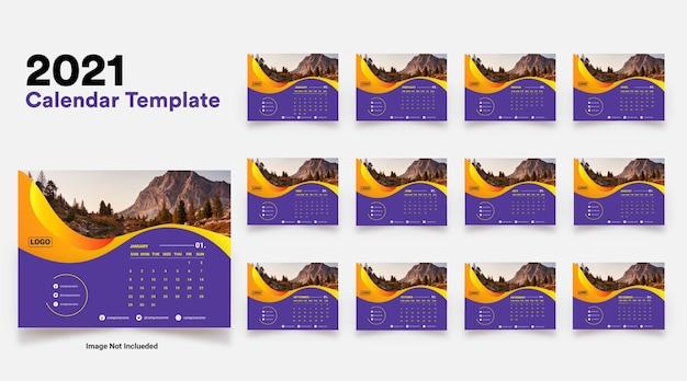 Modelo de design de calendário moderno de estilo empresarial 2021
