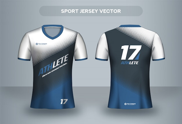 Modelo de design de camisa de futebol. t-shirt uniforme do clube de futebol frente e vista traseira.