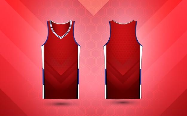 Modelo de design de camisa esporte layout vermelho e branco