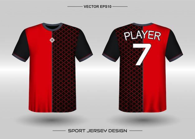 Modelo de design de camisa esportiva para uniformes de time de futebol