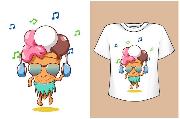 Modelo de design de camiseta com sorvete fofo no verão