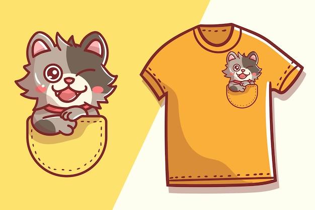 Modelo de design de camiseta de gato de bolso fofo