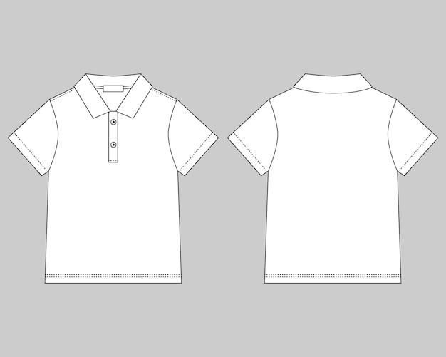Modelo de design de camiseta polo em fundo cinza