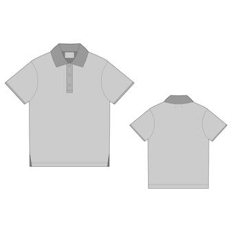 Modelo de design de camiseta polo. vetor frontal e traseiro. t-shirt unissex com esboço técnico