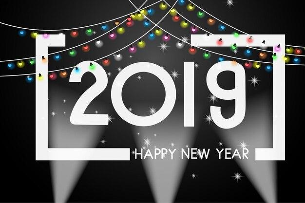 Modelo de design de capa de ano novo 2019 cartão de saudação.