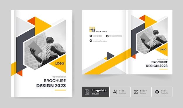 Modelo de design de capa de brochura comercial ou relatório anual limpo e minimalista com duas dobras de perfil da empresa