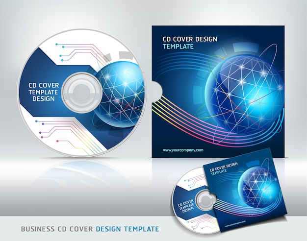Modelo de design de capa de cd. fundo abstrato