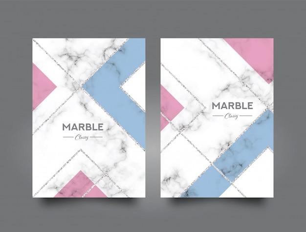Modelo de design de capa de livro abstrato de mármore