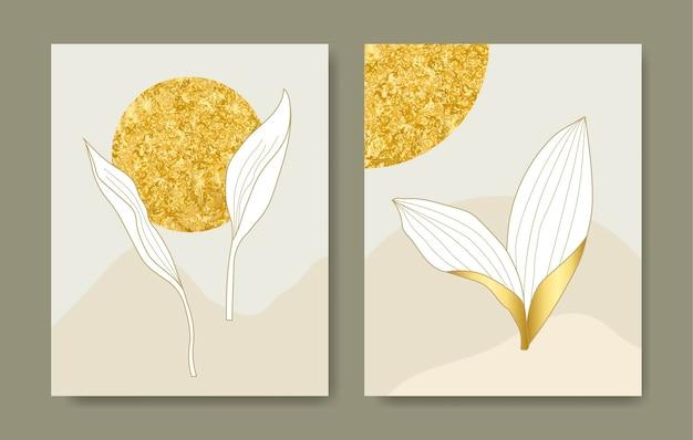 Modelo de design de capa de luxo artes de linhas tropicais desenham flores e folhas exóticas de ouro