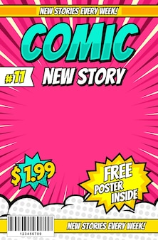 Modelo de design de capa de revista em quadrinhos de desenhos animados