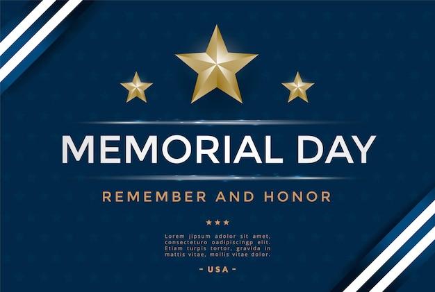 Modelo de design de capa do dia do memorial com estrelas e fita. ilustração vetorial