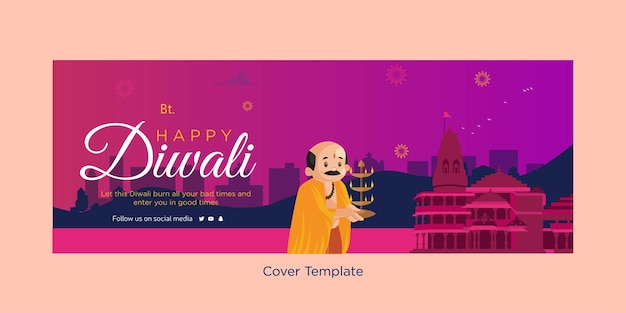 Modelo de design de capa do festival indiano happy diwali
