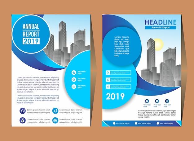 Modelo de design de capa folheto layout poster relatório anual