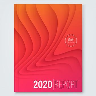 Modelo de design de capa para o relatório anual. forma de onda curvada abstrata mínima na cor gradiente vermelho