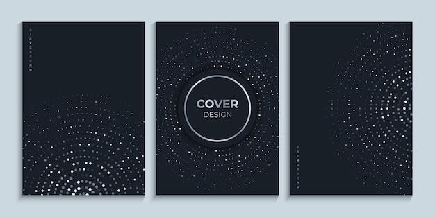 Modelo de design de capa preta com círculos brilhantes